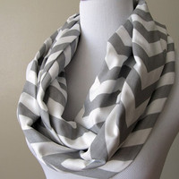Storm Gray Chevron Infinity Scarf - Zig Zag Scarf - Circle Scarf - Loop Scarf - Screen Printed