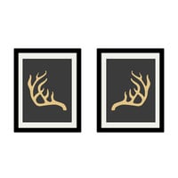 "Deer Antlers. Set of 2. Gold and Grey. Minimalist. Animal. Modern. Boho. Vintage. 8.5x11"" Prints."