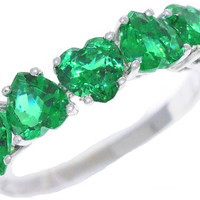 3 Carat Emerald Heart Ring .925 Sterling Silver Rhodium Finish