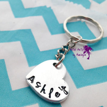 SALE Name Key chain Hand Stamped Keychain Monogram Key Chain Daughters Name Hand Stamped Keychains Gifts for Mom Mothers Day Gift
