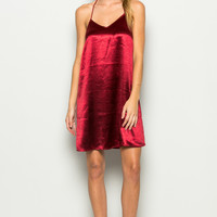 Red Satin V-neck Slip Dress