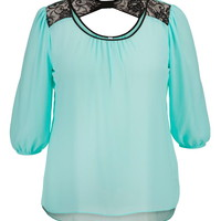 Plus Size - Lace Bow Back Chiffon Blouse - Cool Aqua