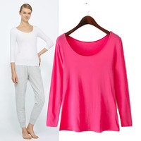 Stylish Round-neck Long Sleeve Cotton Pullover T-shirts Women's Fashion Tops Bottoming Shirt [6046832321]