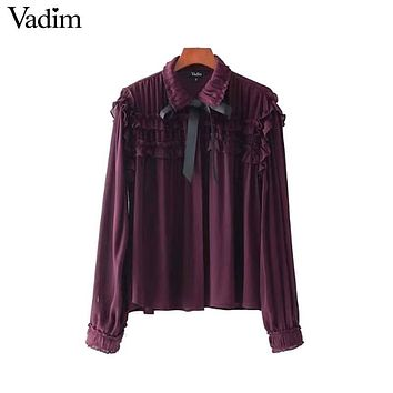 Vadim women sweet ruffled chiffon shirts bow tie neck transparent pleated long sleeve cute blouse casual chic tops blusas LT2453