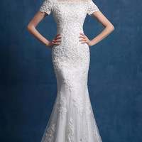 Off Shoulder Mermaid Appliqued Tulle Wedding Dress