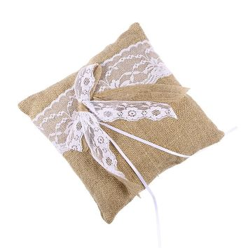 20 x 20cm Hessian Burlap Wedding Ring Bearer Pillow Cushion with Lace Trim Bowknot