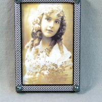 Picture Frame 4X6 Black and White Chevron Print With Dark Grey Pearls Portrait or Landscape