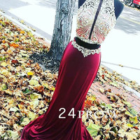 A-line 2 pieces Sequin Chiffon Red wine Long Prom Dresses, Formal Dresses