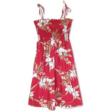 Bamboo Orchid Red Moonkiss Hawaiian Dress