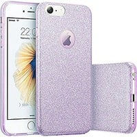 iPhone 7 Case, Eraglow iPhone 7 Back Cover Shinning Protective Bumper sparkle Bling Glitter Case for 4.7 inches iPhone 7 (purple)