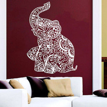 Wall Decals Elephant Indian Pattern Yoga Decal Vinyl Sticker Home Bedroom C22