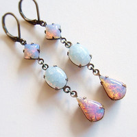 Victorian Opal Earrings Vintage Crackle Glass Stone Antiqued Brass White Opal Jewelry