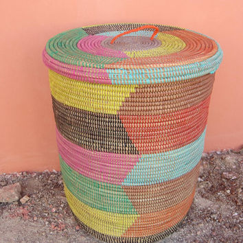 Hamper, wicker, multicolor large woven laundry basket, toy box seagrass, New Mexico Style