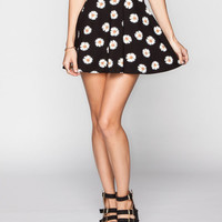 Full Tilt Daisy Print Skater Skirt Black Combo  In Sizes