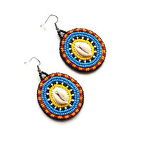 Embroidered Cowrie earrings African influenced handmade earrings African inspired jewelry Ethnic earrings Seashell earrings Beadwork earring