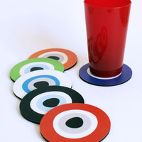 Evil Eye coasters multicolor set of 6