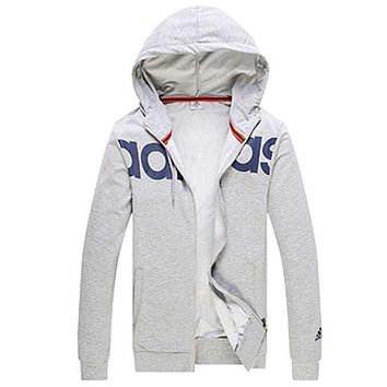 """Adidas"" Women Men Popular Print Hooded Zip Cardigan Jacket Coat Sweatshirt Light Grey"