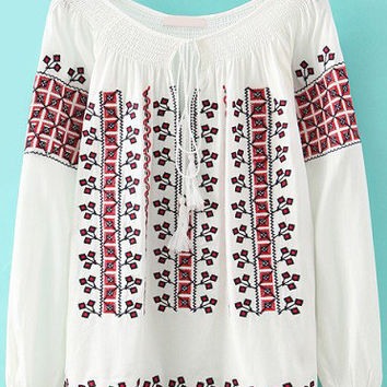 White Long Sleeve Embroidered Loose Fitting Blouse