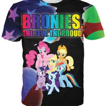 Bronies My Little Pony All Over Full Print 3D Diy Sublimated Polyester Blend Unisex T-Shirt