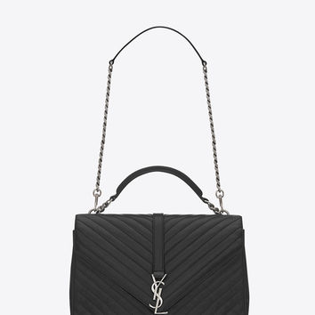Saint Laurent CLASSIC Large Collège MONOGRAM SAINT LAURENT BAG IN Black MATELASSÉ LEATHER - ysl.com