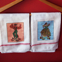 retro his and hers towel set 1950's vintage inspired rockabilly wedding kitsch decor
