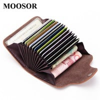 2017 New Genuine Leather Women Men ID Card Holder Card Wallet Purse Credit Card Business Card Holder Protector Organizer DC168