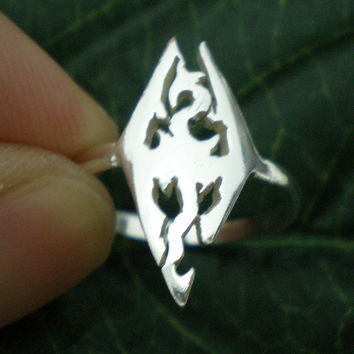 Dragon Silver Ring - Video Game Jewelry for Gamer Geek Scrolls