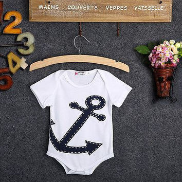 Anchor Themed Baby Onesuit Sleeper Romper