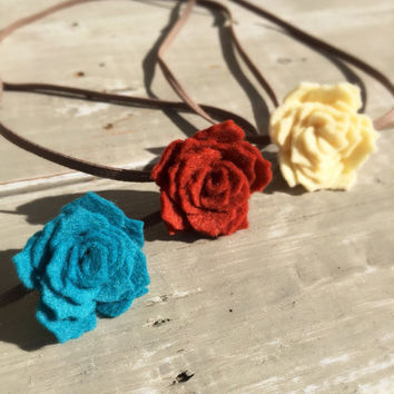 Felt Flower Headband, Baby Headband Set, Orange Felt Flower Headband, Felt Flowers, Teal Felt Flower Headband, Felt Roses, Fall Colors