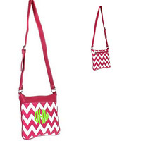 Hot Pink Leather Like Personalized Monogram Embroidered Chevron Handbag, Purse, Cross Body, Hipster, Messenger Leather LIke