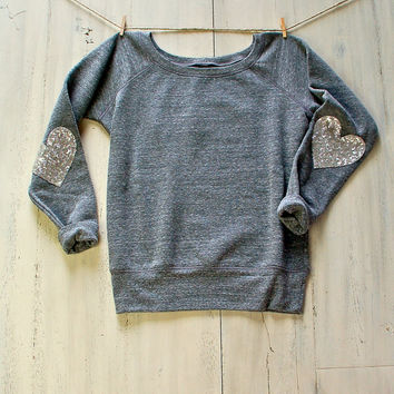 Sequin Sparkly Elbow Patch Sweatshirt Jumper Heather Gray Design Your Own Womens Fashion Slouchy Wide Neck Off the Shoulder Pinterest Tumblr
