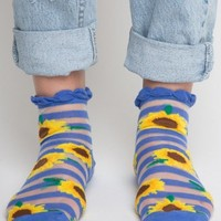 SUNFLOWER AND STRIPES SHEER ANKLE SOCKS