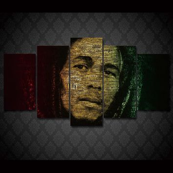 Canvas Painting Picture Wall Art 5 Panel Singer Bob Marley Landscape Home Decoration For Living Room Modern Printing Type YGYT
