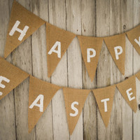 Happy Easter Garland Happy Easter Banner Banner Easter Decor Spring Decor Easter Garland Easter Party Rustic Easter Sign