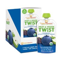 Happy Squeeze Organic Snacks, Twist Blueberry Apple & Purple Carrot, 3.5 oz (Pack of 12)