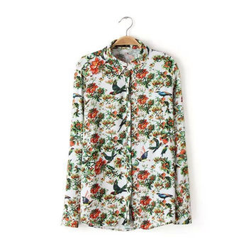 Women's Fashion Tops Print Cotton Shirt [5013370564]