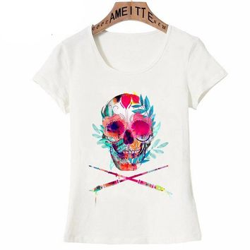 Fashion T-Shirt Cute Women Short Sleeve Skull X Watercolor Casual Top
