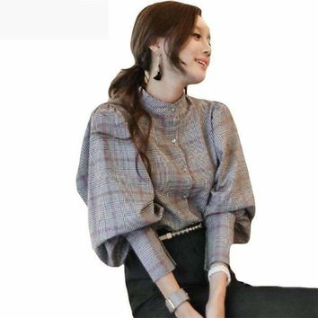 ONETOW 2018 Spring new autumn women back bow tie slim lantern sleeve blouses high quality plaid top  work business runway blouses