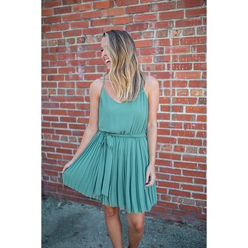 Pleated Just Right Dress - Seafoam Green