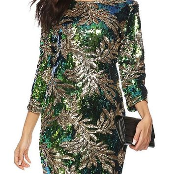 New Green Sequin Round Neck Long Sleeve Going out Mini Dress