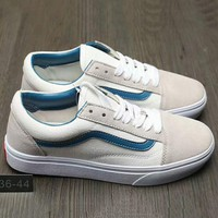 Vans Fashion Casual Canvas Old Skool Flats Sneakers Sport Shoes White+Grey G-A0-HXYDXPF