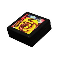 Colorful Artistic Yellow Rose Jewelry Box