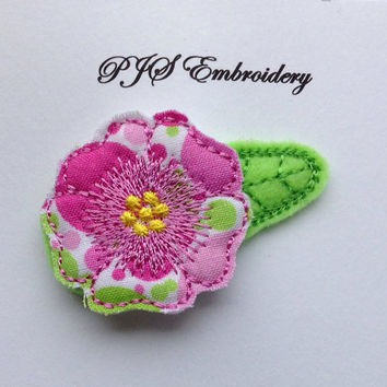Felt and Fabric Flower in Pink and Green Snap Clip Barrette