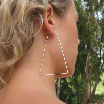 Large Trapeze Hoop Earrings.Sterling Silver - Modern Hoops - Geometric Earrings. Unique Jewelry. Geometric Hoops - Unique Earrings - Artisan