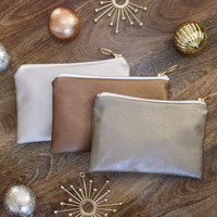 Leather Clutch Cosmetic Case Bridesmaid Gift - Champagne, Copper, or Dark Gold - Glitz Interior + Fancy Ring Pull - Almquist Design Studio