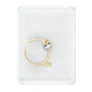 14K Yellow Gold 2mm Cubic Zirconium Open Hoop Nose Ring 20G