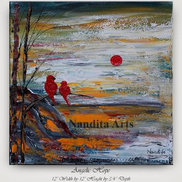 Small Artwork, Landscape paintings, Bird Art, handmade Sunsets Tree Art, Red Birds, Tree Art, Scenic wall art on canvas by Nandita Albright