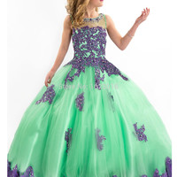 Girls Pageant Dresses 2017 Ball Gown Green Red Blue Appliques Beaded See Through Cute Little Flower Girl Dresses For Wedding