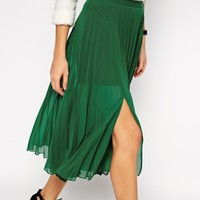 ASOS Pleated Midi Skirt With Splits at asos.com