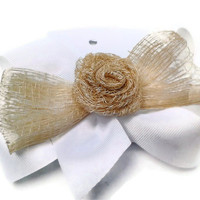 White Boutique Hair Bow, Girls hair bows, Boutique hair bows